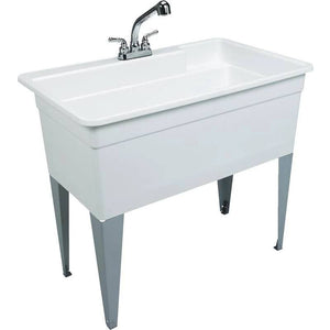 Utilatub 36-Gallon Floor-Mount Utility Tub, 34 X 40 X 24 In., White - (NEW IN BOX)