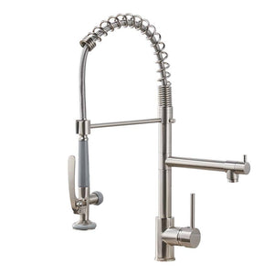 Fapully Commercial Pull Down Kitchen Sink Faucet with Sprayer Brushed Nickel (NEW IN BOX)