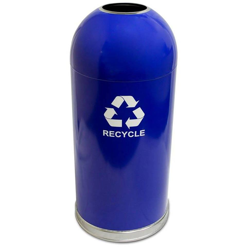 Witt Blue Open Dome Top Recycling Receptacle Bin - (NEW IN BOX)