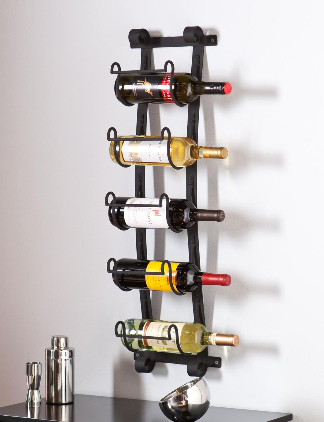 Wall Mount Wine Rack in Wrought Iron - (NEW IN BOX)
