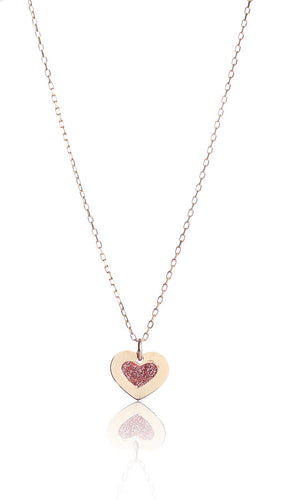 14kt Yellow Gold Heart Pink Enamel Pendant Necklace