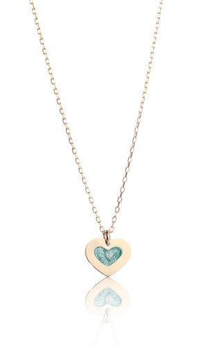 14kt Yellow Gold Heart Enamel Pendant Necklace