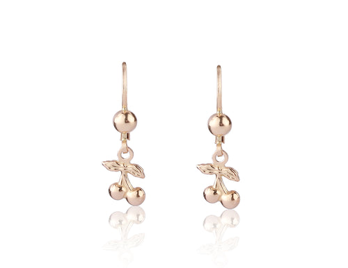 Girl's 14K Yellow Gold Cherry Leverback Earring