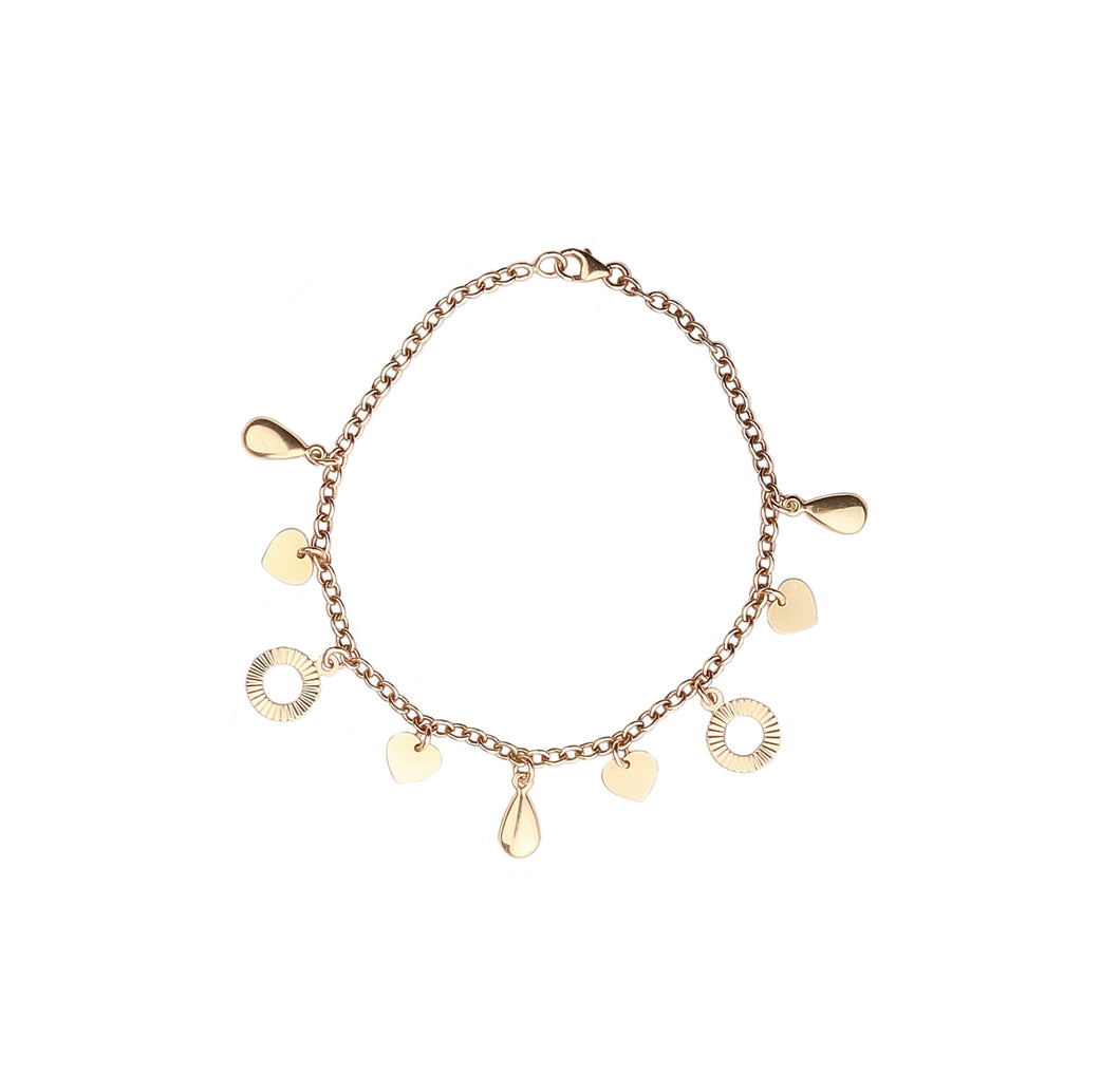 14kt Yellow Gold Link Bracelet with Italian Heart and Teardrop Charm. 7.5