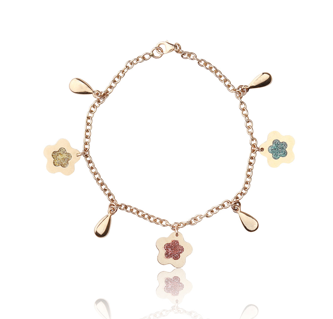 14kt Yellow Gold Link Bracelet with Italian Flower Enamel Charm. 7.5