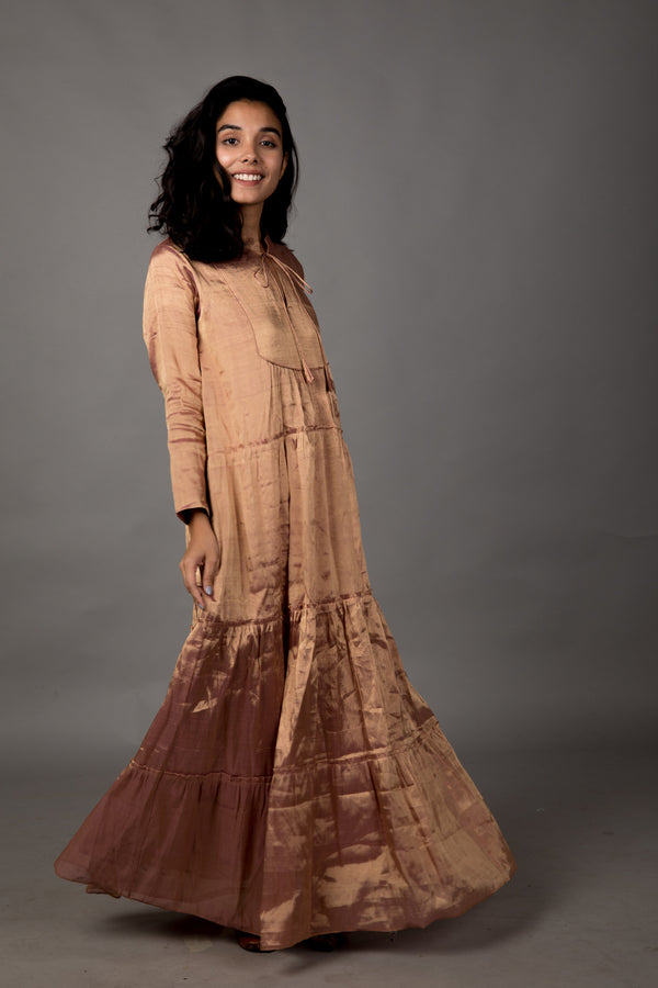 Rose Gold Tiered Shimmer Dress