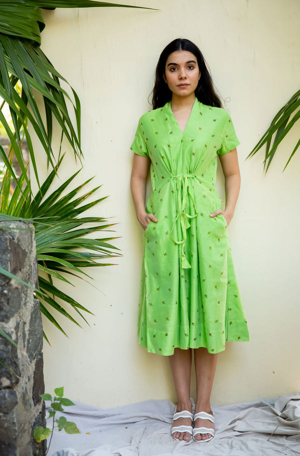 Green Bee Collar with Tie-up Dress