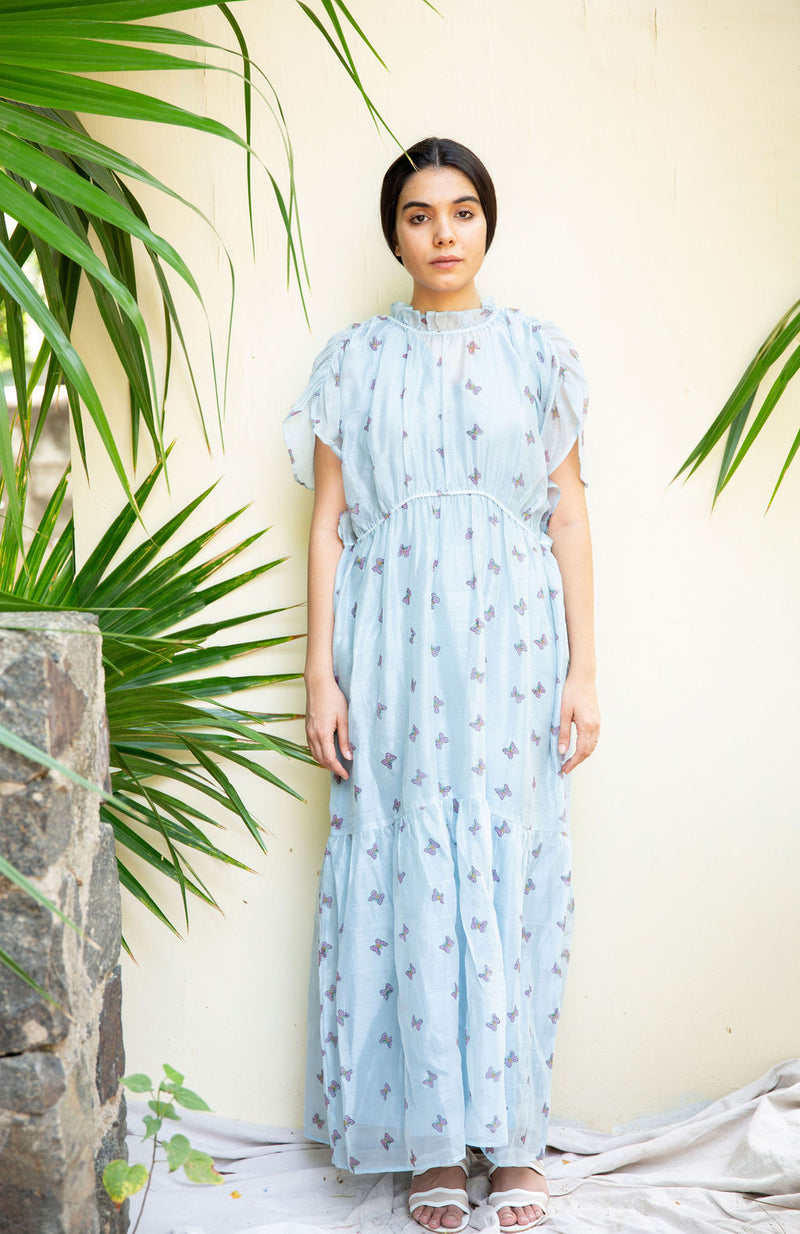 Ice Blue Butterfly Maxi Dress
