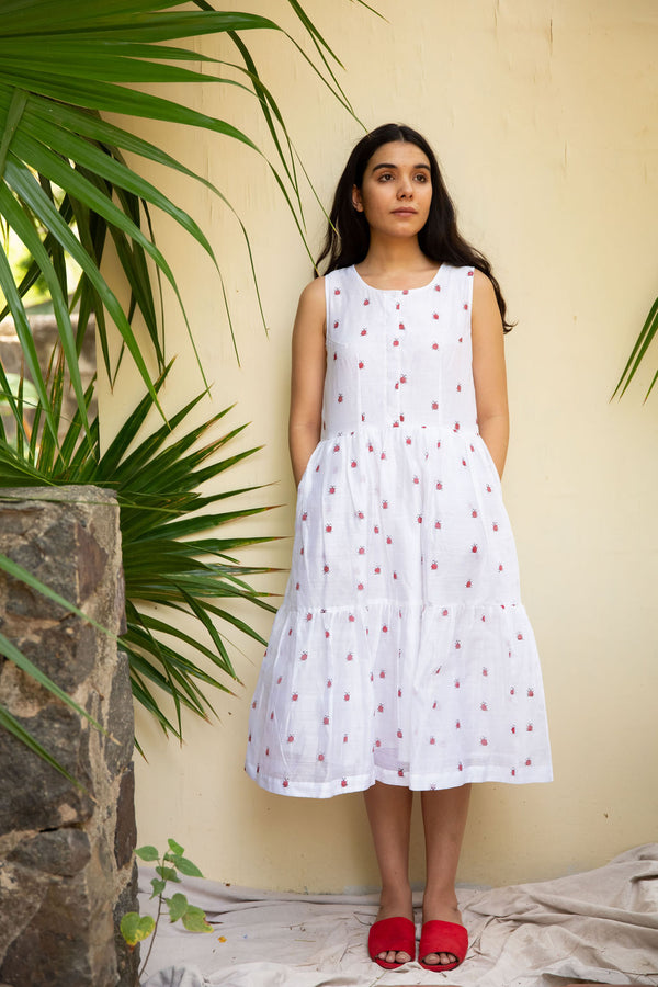 White Sleeveless Ladybug Dress