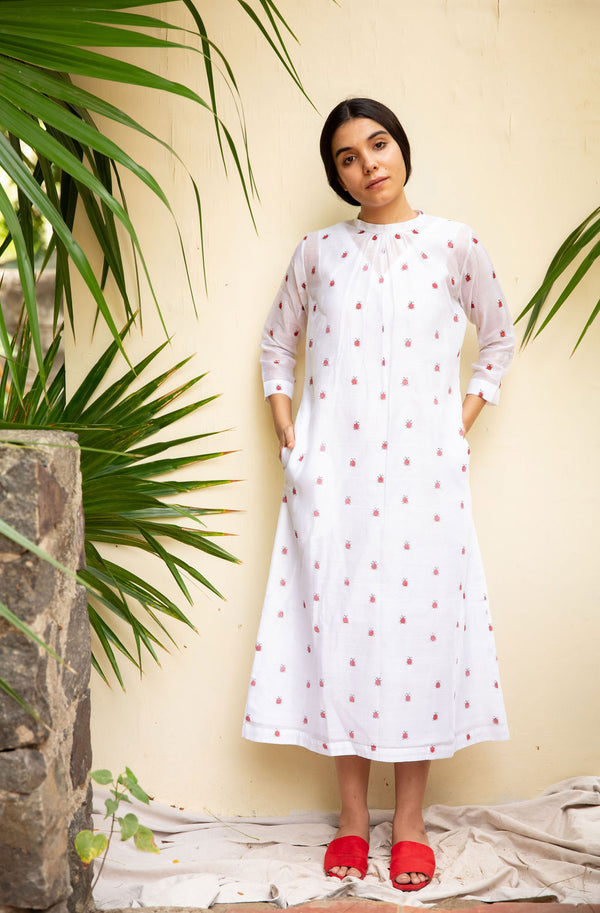 White Ladybug Midi Dress