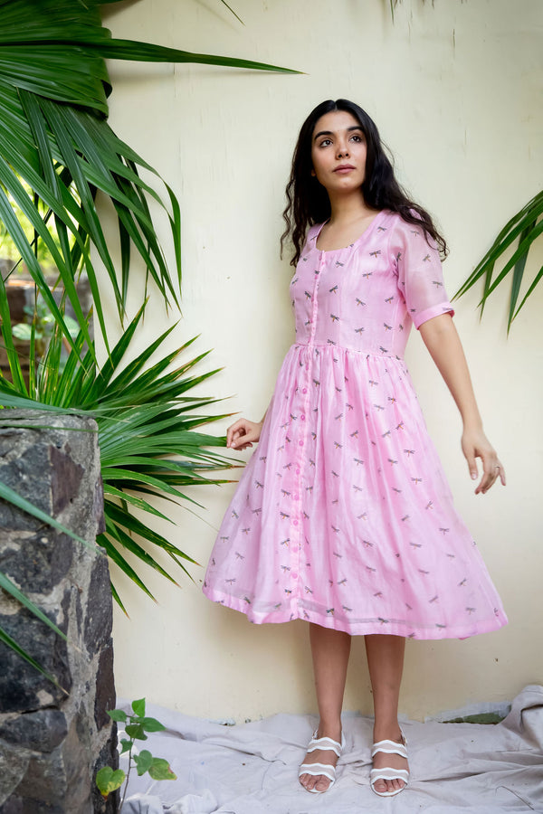 Pink Dragonfly A-Line Dress