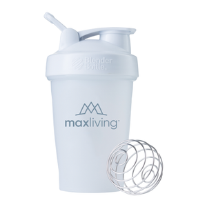 MaxLiving BlenderBottle® The great mixer and shaker bottle features you love about BlenderBottle®. 20 oz. Capacity to Cup Brim Measurement Marks Included Up to 12 oz. StayOpen™ Flip Cap Adjustable Carry Loop GripperBars™ for easy hold BPA-Free Patented BlenderBall® Included Top Rack Dishwasher Safe Wide Opening for Ingredients