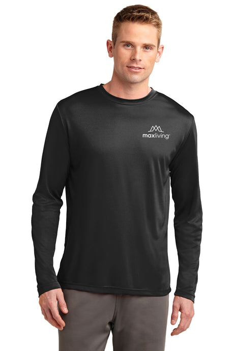 MaxLiving Men's 5 Essentials Black Long Sleeve Athletic Shirt Lightweight. Roomy and highly breathable, these moisture-wicking, value-priced tees feature PosiCharge technology to lock in color and prevent logos from fading.