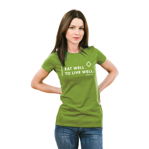"MaxLiving Eat Well To Live Well Unisex Heather Green T-Shirt Front: ""Eat Well to Live Well"" Back: None This unisex shirt fits like a well-loved favorite, featuring a crew neck, short sleeves and designed with superior Airlume combed and ring-spun cotton.Features: Sideseamed. Retail fit. Unisex sizing. Shoulder taping."