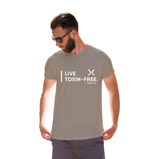 MaxLiving Live Toxin-Free Unisex Pebble Brown T-Shirt Front: