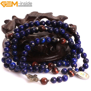 Gem-inside Natural Round Anglican Muslim Catholic Christian Episcopal Prayer Rosary Beads DIY Jewelry For Men Jewelery