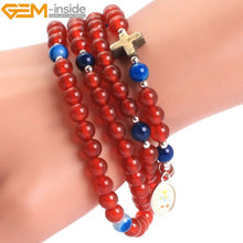Load image into Gallery viewer, Gem-inside Natural Round Anglican Muslim Catholic Christian Episcopal Prayer Rosary Beads DIY Jewelry For Men Jewelery