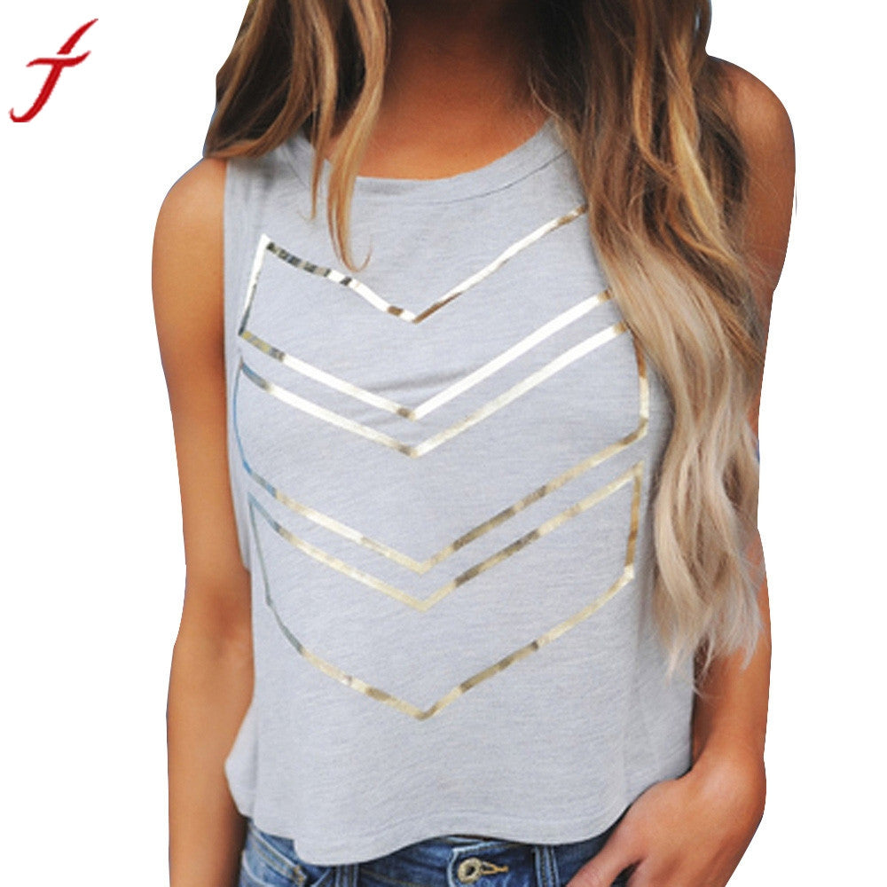 New Fashion Gray T-Shirt 2017 Summer Women Lady crop top Geometric Printing Sleeveless Cotton cropped feminino