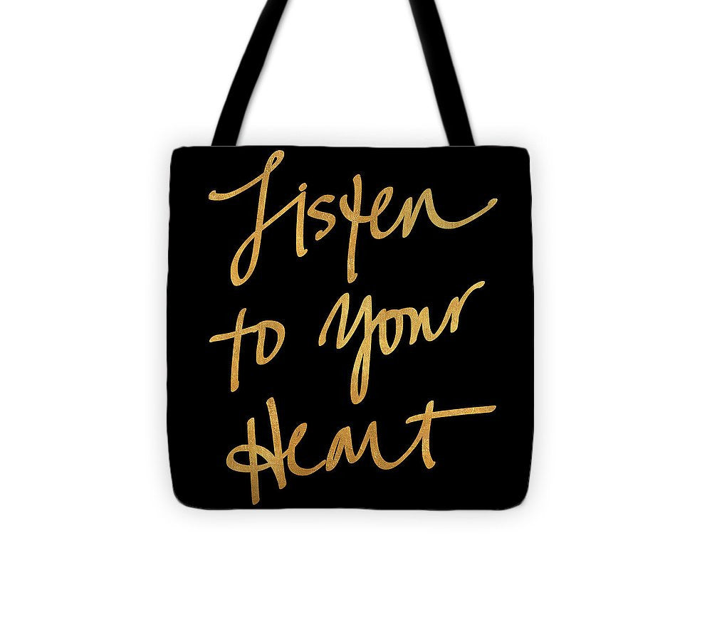 Listen To Your Heart Square On Black Tote Bag