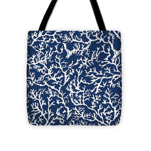 White Coral On Blue Pattern Tote Bag
