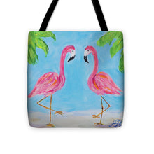 Load image into Gallery viewer, Fancy Flamingos IIi Tote Bag