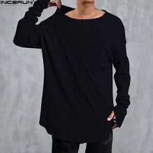 Load image into Gallery viewer, Hip Hop Curved Hem Long Sleeve T-Shirts Mens Solid Extended Swag Top Tees Male Knitted Longline Tshirts Fashion Streer Wear Tops