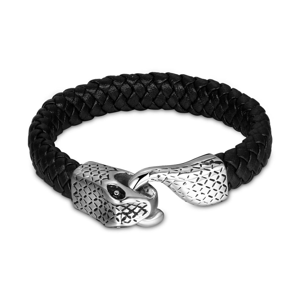 Mens Stainless Steel Leather Bracelet