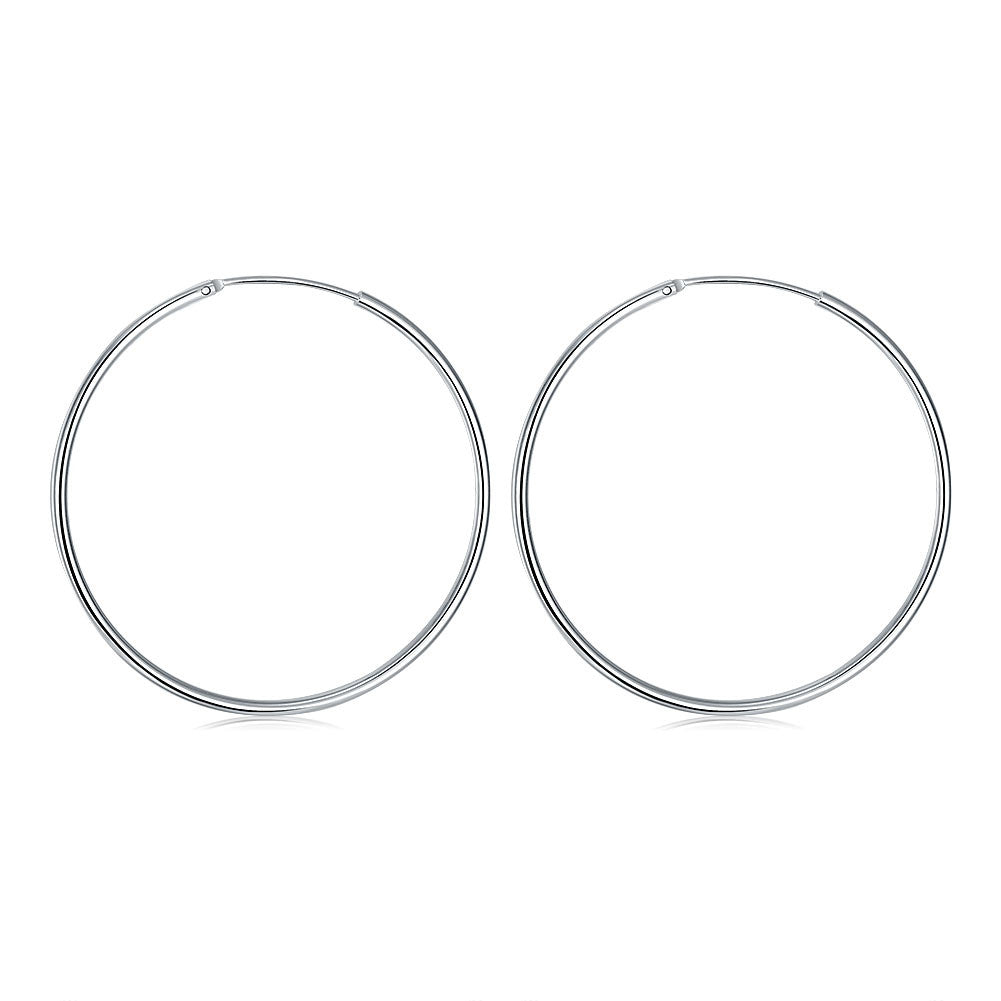 2mm Sterling Silver  Plated Haute Hoop Earrings