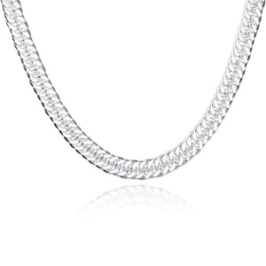 Figaro Chain Necklace in 18K White Gold Plated