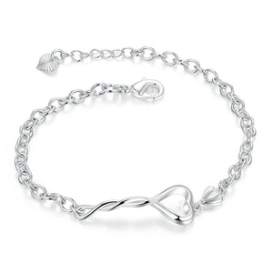 Heart Twist Bracelet in 18K White Gold Plated