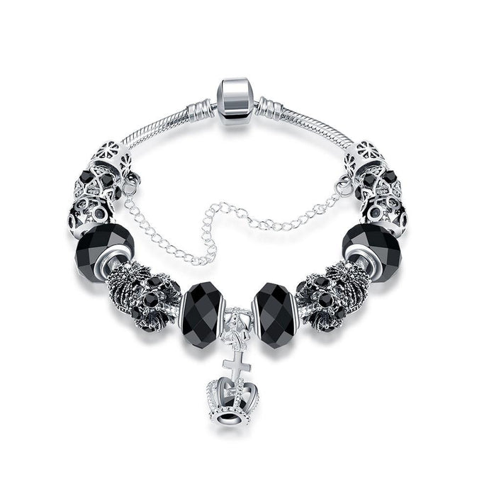 Royal Midnight Black Crown Jewel Pandora Inspired Bracelet Made with Swarovski Elements