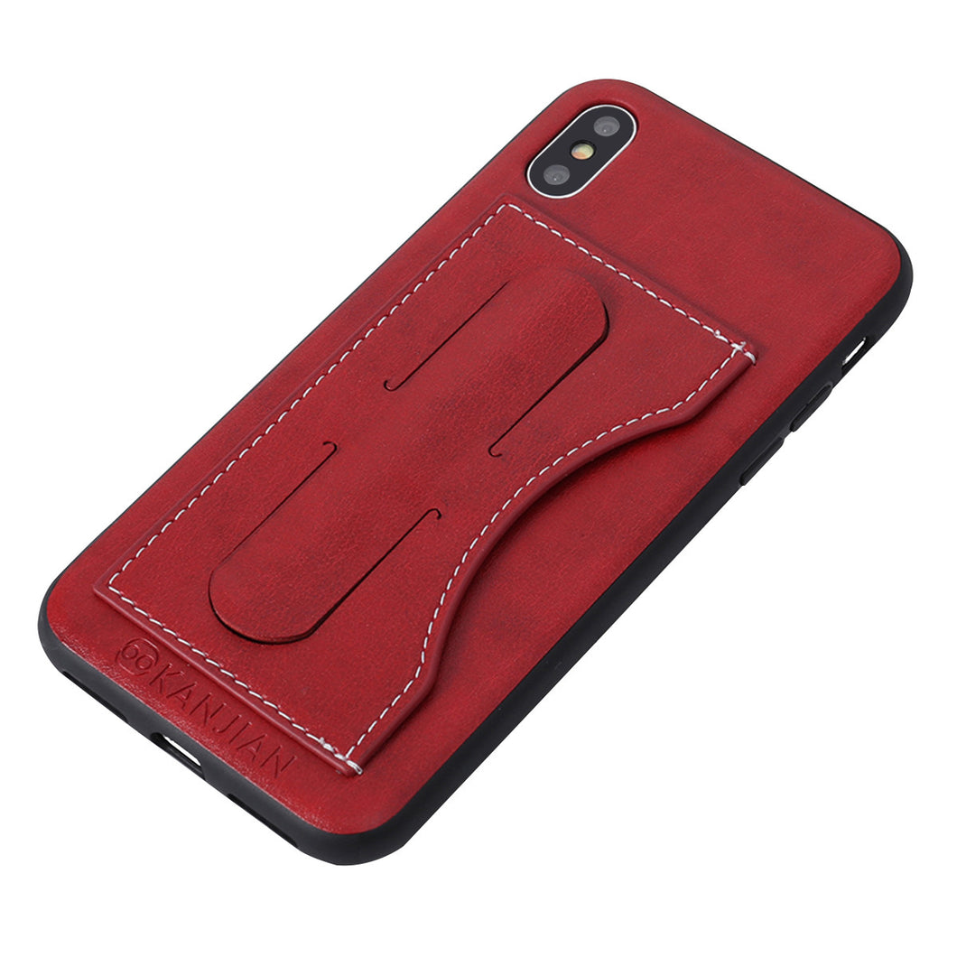 Soft PU Leather Phone Cover Case Anti-scratch Protector Guard with Kickstand and Pocket for iPhone X