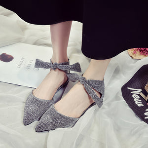 Spring&Summer Woman Shoes Ankle Straps Buckle Flats Pointed Toe Shoes