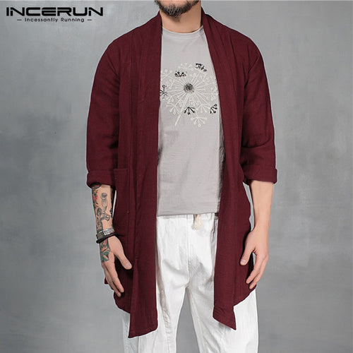 Autumn Men's Trench Hiphop Cardigan Long Sleeve Outwear Cardigan Cloak Irregular Hem Loose Pockets Hombre Coat Jackets Masculino