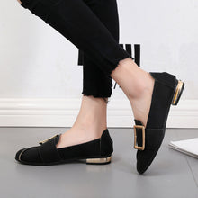 Load image into Gallery viewer, Women Shallow Square Buckle Slip On Low Heel Shoes Square Toe Single Shoes