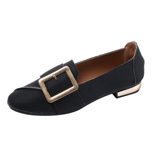 Women Shallow Square Buckle Slip On Low Heel Shoes Square Toe Single Shoes