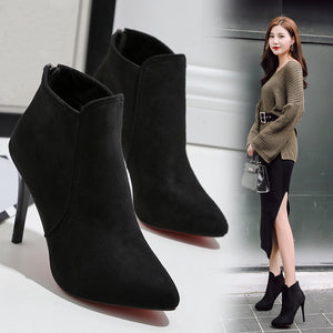 Women's Spring Casual Thin Heels Shoes Pointed Toe High-Heeled Shoes