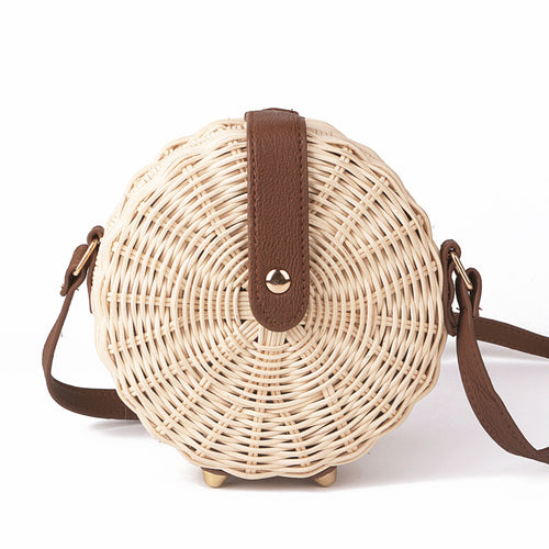 Women Straw Bag Bohemian Bali Rattan Beach Handbag Small Circle Lady Vintage Crossbody Handmade Kintted Shoulder Bags