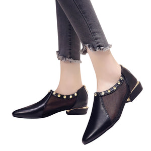 Women Shallow Zipper Rivets Low Heel Flat Mesh Party Shoes Pointed Single Shoes