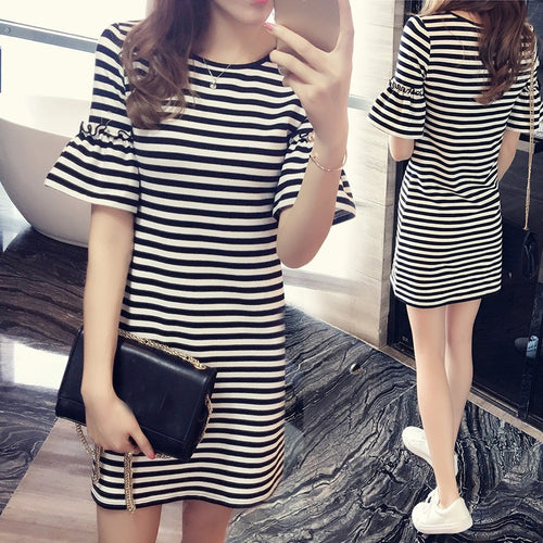 Fashion Women Body Slim Short Sleeve Casual Striped Pencil Skirt