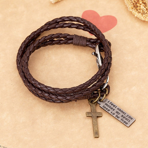 1Pcs Men#39;s Women#39;s Multilayer Wrap Leather Braided Surfer Bracelet Wristband Jewelry