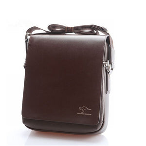 Men's Vertical PU Shoulder Bag Messenger Bag - Size M (Brown)