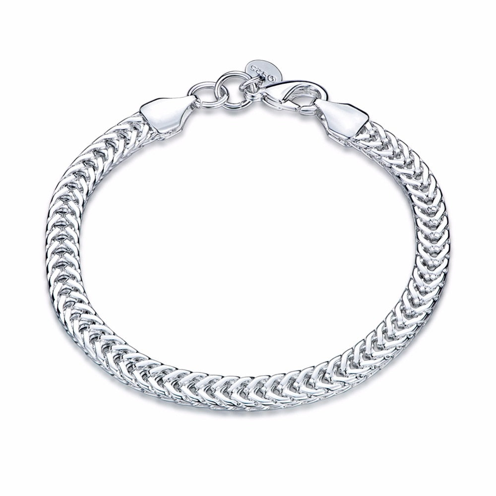 Original Real 925 solid silver plated Bracelets Bangle Width 6MM Fashion Jewelery For Men and Women Gift SH504