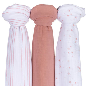 Cotton Muslin Swaddle Blanket - Pack of 3 (variation)