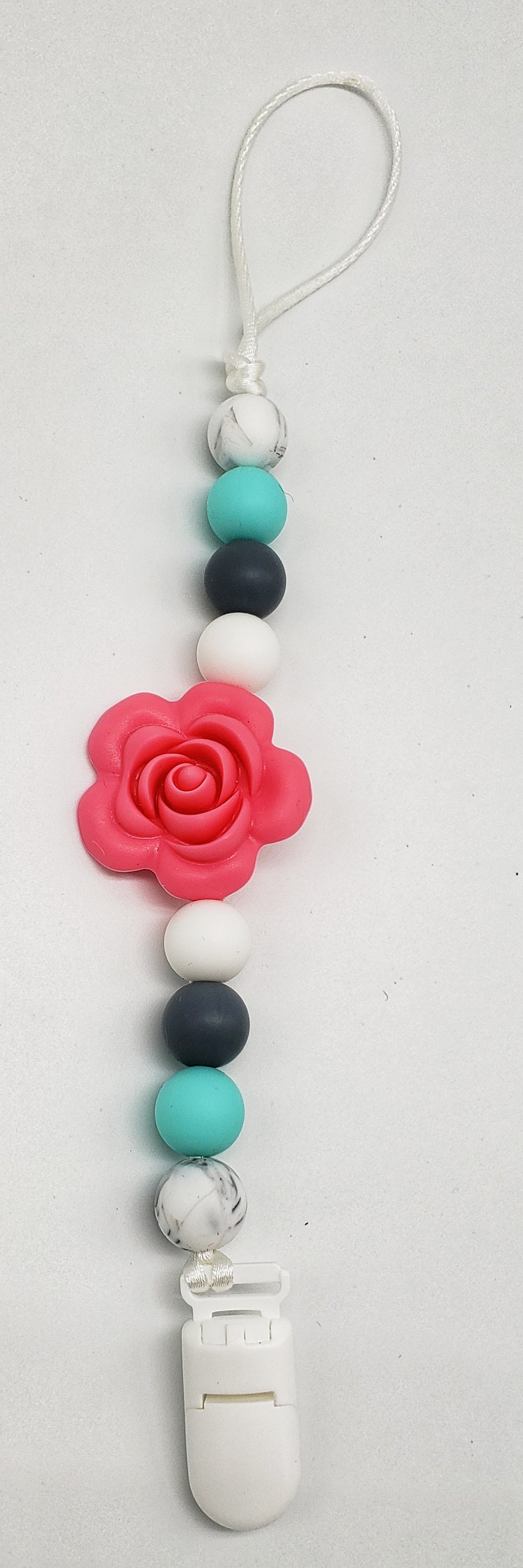 Large Rose pacifier clip pink and gray