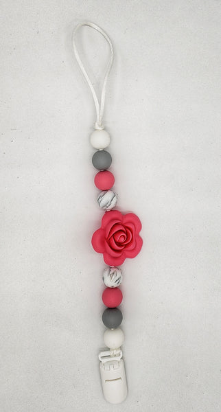 Large pink rose and gray pacifier clip
