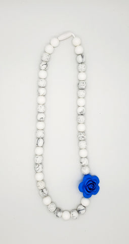 Blue rose adult necklace