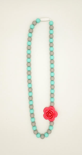 Pink rose adult necklace