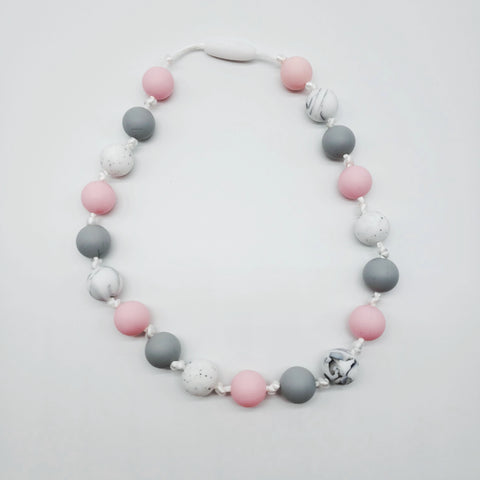Children's pink and gray necklace