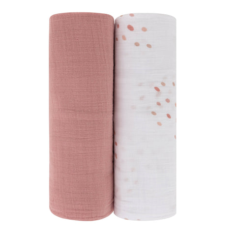 Cotton Muslin Swaddle Blanket Pink Raindrops Collection